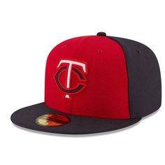 ef9c0857e Men s Minnesota Twins New Era Red Navy Road Diamond Era 59FIFTY Fitted Hat