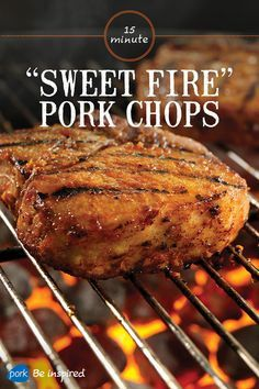 These bone-in Porterhouse pork chops are marinated in a sauce made from chipotle chile, garlic, orange zest and honey for that unbeatable smoky, tangy flavor. Enjoy them with mashed sweet potatoes and sautéed green beans. Pork Chop Marinade, Bbq Pork Ribs, Pork Ham, Grilled Pork Chops, Pork Loin, Pork Rib Recipes, Steak Recipes, Grilling Recipes, Cooking Recipes