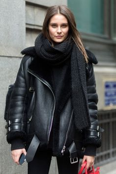 Street style, trending Winter 2015, black leather shearling jacket