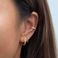Bijoux Piercing Septum, Ear Piercings Cartilage, Cute Cartilage Earrings, Ear Piercings Chart, Cuff Earrings, Ear Cuff Piercing, Snug Piercing, Conch Earring, Tongue Piercings