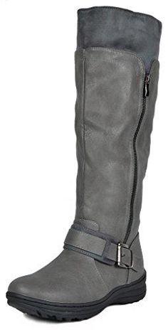 118e5e8cf2e DREAM PAIRS Women s New Siberian Grey Faux Fur Lined Knee High Winter Snow  Boots Wide Calf Size 5 B(M) US
