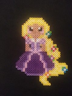 Rapunzel Perler Bead Figure by AshMoonDesigns on deviantART Perler Bead Designs, Hama Beads Design, Pearler Bead Patterns, Perler Patterns, Perler Bead Disney, Perler Bead Art, Gremlins, Peler Beads, Beads Pictures