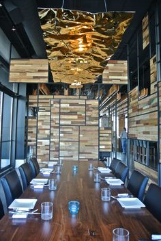 New Luster installation and reclaimed wood screens for the private dining room at Origin North - Restaurant & Bar #originnorth