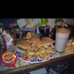 Oscar food! Hamburgers, Fries and a milkshake :) Good luck to all the nominees.