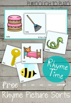 Free Rhyme Picture Sorts. Such a fun rhyming activity for kids! Perfect for preschool or early kindergarten.