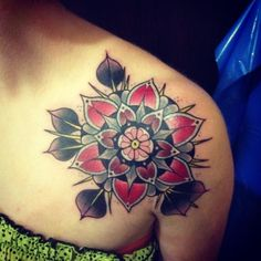 american traditional flower shoulder tattoos - Google Search