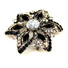 Black Clear Glass Rhinestone Brooch ($22) ❤ liked on Polyvore featuring jewelry, brooches, rhinestone brooches, rhinestone jewelry, clear glass jewelry, clear jewelry and rhinestone broach