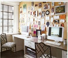 For my dream home office one day... full wall of cork board! I'm loving this idea but not like this I need a book case!