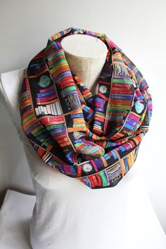 Book scarf is a great accessory for every day! Specially patterned infinity scarf with bookshelf printed chiffon fabric.