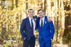 Groom in bright blue suit with groomsmen in muted navy suit at the Zukas Barn. Bright Navy Suit, Navy Blue Suit, Blue Groomsmen Suits, Alton Lane, New England Fall Foliage, Beauty Lounge, Barn Wedding Venue, Backless Wedding, Outdoor Ceremony