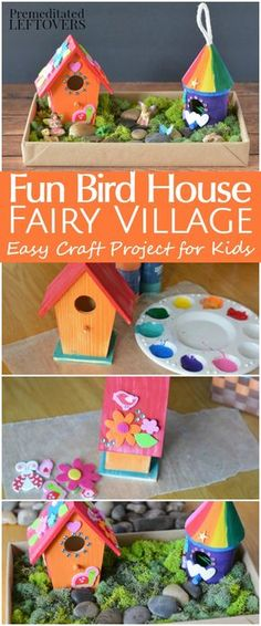 DIY Bird House Fairy Garden Craft for Kids- This is such a fun and easy craft project using small wooden bird houses. Kids can create a whole fairy village!