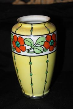 Beautiful Very Art Deco Made in Japan Hand Painted Vase Perfect Deco colors