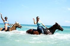 Chukka Cove - Sandy Bay In Jamaica:  It was our 5th wedding anniversary trip and our only planned excursion outside of the resort. The stunning blue-green ocean became exciting as we swam with our horses and several other couples, for the first time. I would love to do this, again, with the rest of my family!