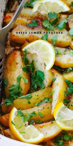 This Greek Lemon Potatoes recipe uses the best russet Idaho® Potatoes that are roasted in a very flavorful liquid made from chicken broth, extra virgin olive oil, fresh lemon juice, garlic and dry oregano. This is a perfect side dish for the Easter holiday or even a quiet night of Greek food at home. Delicious Vegan Recipes, Spicy Recipes, Greek Recipes, Vegetable Recipes, Healthy Recipes, Healthy Meals, Healthy Food, Cooking Recipes, Easy Vegetable Side Dishes