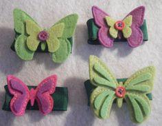 Set of 4 felt butterfly hair clips.
