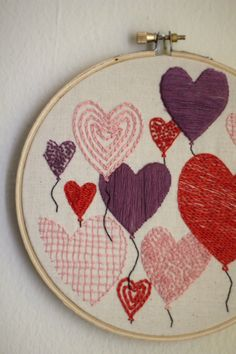 Balloons>Roses, Valentine's Day embroidery pattern from Red Letter Day Stitches.