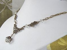 Victorian Style Antiqued Brass Necklace With by ATestOfTime, $24.00