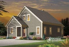 2 or 3 bedroom chalet with double-sided fireplace and mezzanine  Floor plans, similar plans, rear view & more information here : http://www.drummondhouseplans.com/house-plan-detail/info/1003062.html