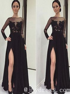 Custom Made A Line Long Sleeves Black Lace Prom Dresses, Black Lace Formal Dresses