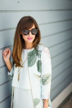 Mint floral coat with black sunglasses by Los Angeles fashion blogger M Loves M @Mara Ferreira