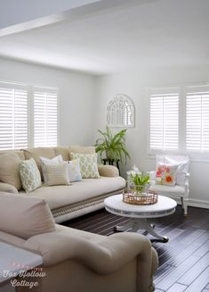 Classic Plantation Shutters are the perfect compliment to blogger @Fox Hollow Cottage 's sweet simple decor.