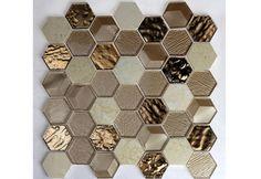 IVG6-003 Hermes Hexagon Gold Glossy Glass & Stone Mosaic_IMARKSTONE