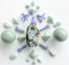 Amazonite, Hemimorphite, Larimar and Hyacinth petals by Woodlights Woudlicht www.facebook.com/...