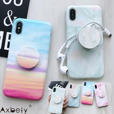 For iPhone XS MAX 7 8 6 Plus XR fashion colorful Marble silicon Cases For iPhone 8 Plus Cute Stand Holder Phone Cover - Nobleismyname - Handytasche Iphone 8 Plus, Iphone 7, Iphone Phone Cases, Cell Phone Covers, Iphone Speakers, Clean Iphone, Cool Iphone Cases, Coque Ipod, Telefon Apple