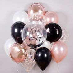 Set for a woman 30th Birthday Balloons, 18th Birthday Party Themes, Birthday Balloon Decorations, Gold Party Decorations, Gold Birthday Party, Birthday Diy, Champagne Birthday, Champagne Party, Rose Gold Balloons