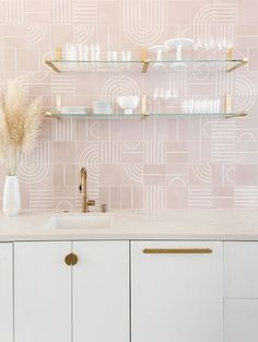 Tile splash back using interesting tile / colours continue scheme. Add storage with doors to hide clutter A STYLISH EVENT SPACE IN LOS ANGELOS, USA Ikea Kitchen Cabinets, Kitchen Doors, Kitchen Tiles, Kitchen And Bath, White Cabinets, Decoracion Vintage Chic, Pink Tiles, Concrete Kitchen, Stylish Kitchen