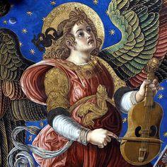 Ángel tocando una vihuela de arco. Fresco de la bóveda del altar mayor de la Catedral de Valencia. Paolo de San Leocadio y Francesco Pagano