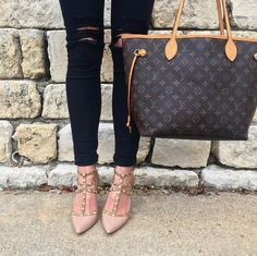 Louis Vuitton Neverfull MM and faux Valentino's! Follow @alexandrachammer on Instagram for more fashion, beauty and lifestyle posts! ♥