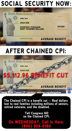"""The Chained CPI isn't a """"tweak"""" or a """"correction"""" as the White House claims. It's a benefit cut. Real dollars lost to real families including millions of seniors, retired veterans, and the disabled.  Tell Congress you won't be fooled. The Chained CPI shackles millions of American families with benefit cuts they simply can't afford.  On WEDNESDAY, Call In Here: (800) 998-0180 #SocialSecurity Real Family, Social Security, The Fool, Retirement, Wednesday, Benefit, Families, Finance, Politics"""