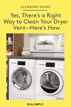 Yes, There's a Right Way to Clean Your Dryer Vent—Here's How | Learn how to clean a dryer vent with the correct dryer routine maintenance, and knowing how to clean a dryer vent can help prevent common disasters. Follow these expert steps to clean a dryer vent every few months. So your clothes will not only dry faster, but they'll also stay lint-free. #organizationtips #realsimple #howtoclean #cleaningtips #cleaninghacks Dryer Vent Pipe, Clean Dryer Vent, Dry Cleaning, Cleaning Hacks, Laundry Hacks, Laundry Rooms, Bathroom Drain, Vent Covers, Tidy Up