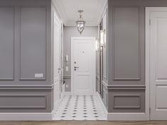 Modern classic interior in Moscow Minimal Bedroom Design, Modern Classic Interior, Wainscoting Styles, Classic Living Room, Light Grey Walls, Lobby Design, Luxury Home Decor, Modern Kitchen Design, Home Interior Design