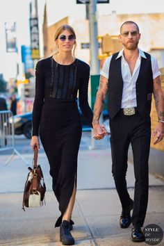 New York Fashion Week SS 2016 Street Style: Veronika Heilbrunner and Justin O'Shea