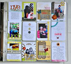 What's not to love? I simply love all the little layered collages on this spread. I simply must start printing tiny photos and doing things like this!