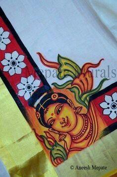 Mural art Saree Painting, Kerala Mural Painting, Dress Painting, Fabric Painting, Fabric Art, Painting & Drawing, Fabric Decor, Indian Traditional Paintings, Indian Paintings