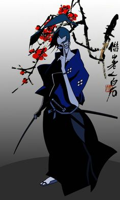 This is Jin from the anime Samurai Champloo. Oni Samurai, Samurai Anime, Manga Anime, Anime Art, Samurai Wallpaper, Blue Anime, L5r, Cowboy Bebop, Anime Life