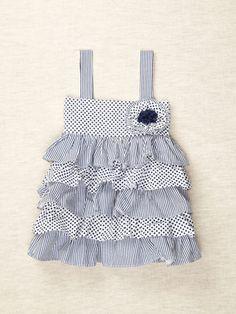 Cozy Toes  Navy Ruffled Dress