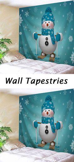 Christmas decor:Snowman Print Tapestry Wall Hanging Art
