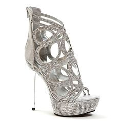 open toe metallic silver strappy high heel $44.50 | DEB SH♡ES ...