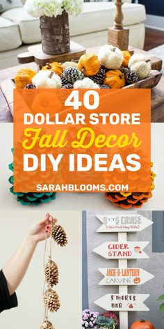 Get your home ready for fall with these Easy and Affordable Dollar Store DIY Fall Decor Ideas that will transform your home! These Frugal Dollar Store Fall Decor Ideas are cheap and easy to make – but definitely don't look cheap! Dollar Tree Fall, Dollar Tree Decor, Dollar Tree Crafts, Thanksgiving Crafts, Fall Crafts, Fall Decorations Diy, Cheap Thanksgiving Decorations, Harvest Decorations, Pumpkin Crafts