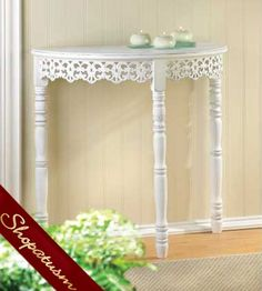Shabby White Distressed Chic Flourished Half Moon Hall Table