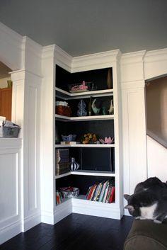 Love the idea of a corner bookcase!