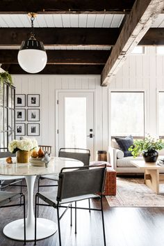Modern Bohemian Netflix Remodel - Studio McGee Netflix Home, Casual Living Rooms, Studio Mcgee, Dining Nook, Exposed Beams, Modern Bohemian, Eclectic Style, Interiores Design, Interior Inspiration