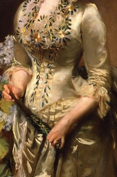 """Mrs. Jacob Wendel"" (1888) (detail), by John Singer Sargent (1856 – 1925)"