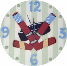 This charming wooden wall clock is a must have for any childs room. This clock adds a touch of style, while being fun and functional! Sweeping hands are silent (no ticking sound.) This clock is part o
