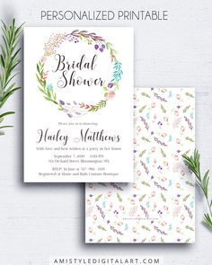 Boho bridal shower invite - with cute and unique watercolor floral wreath by Amistyle Digital Art on Etsy
