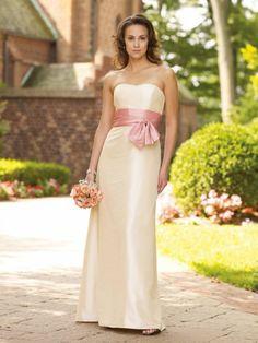 Taffeta Softly Curved Neckline waistband Accented Bodice Empire A-Line Bridesmaids Dress